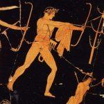 Cerámica en la que se observa a un Apolo flechador. 455 a.C. Museo del Luvre